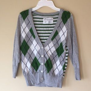Grey, White and Green Cardigan